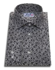 floral black and white shirt