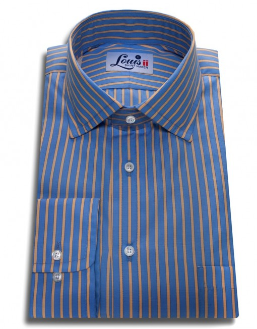 yellow stripe blue shirt