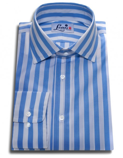 sky blue stripes shirt single cuff